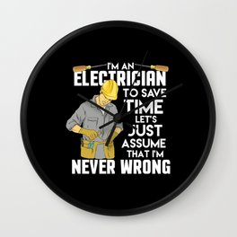 Electrician Gift: I'm An Electrician I'm Never Wrong Wall Clock