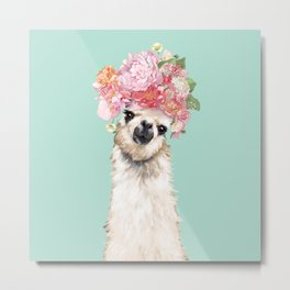 Llama with Flowers Crown #3 Metal Print