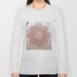 Rose gold mandala marble glitter ombre Long Sleeve T-shirt