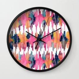 Peony Balinese Ikat Wall Clock