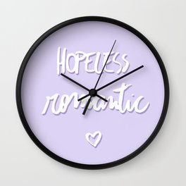 Hopeless romantic pastel lavender Wall Clock