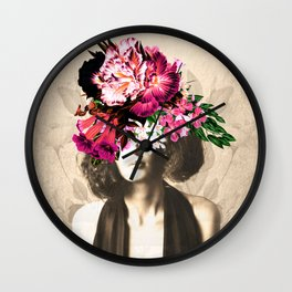 Floral Woman Vintage White Rose Gold Wall Clock