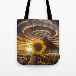 Sunflower and spiral clouds by GEN Z Tote Bag