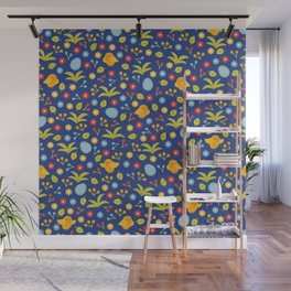 Easter Eggs and Yellow Baby Chick Pattern Wall Mural