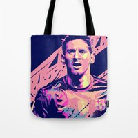messi Tote Bags featuring Lionel Messi : Football Illustrations by mergedvisible