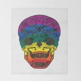 rainbow skull Throw Blanket
