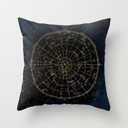 Golden Star Map Throw Pillow