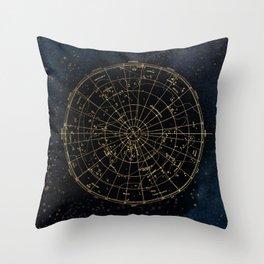 Golden Star Map Throw Pillow