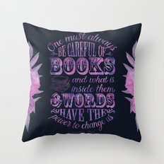 Be Careful Of Books - Black & Purple Throw Pillow