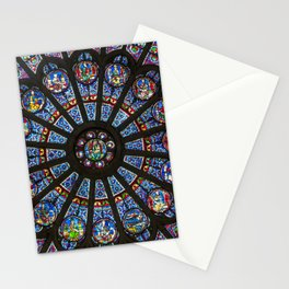 STAINED GLASS Notre Dame Cathedral Paris France Stationery Cards