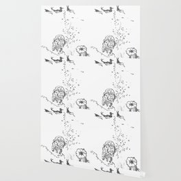 Two Tailed Duck and Jellyfish White Wallpaper