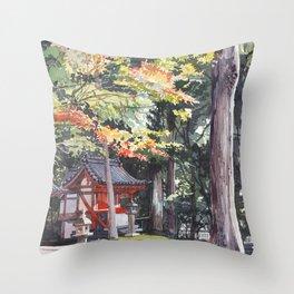 Shrine garden in Nara Throw Pillow