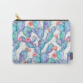 Rainbow Watercolor Cactus Pattern Carry-All Pouch