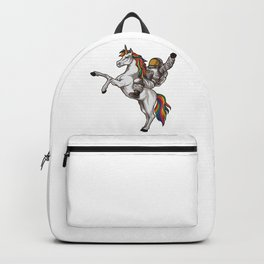 Astronaut Rides a Unicorn   Mythical Spaceman Backpack