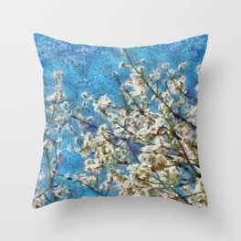 Blossom and Blue Sky In Monet Style Throw Pillow
