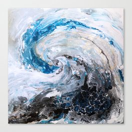 Ocean wave - blue and gold abstract seascape Canvas Print