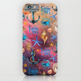 Seashells And Anchors Pattern, Sea Waves Artwork iPhone Case