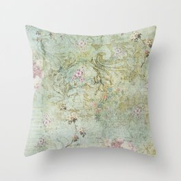 Vintage French Floral Wallpaper Throw Pillow