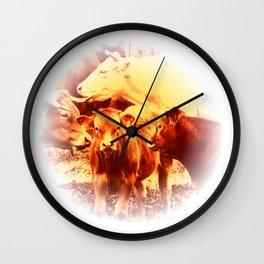 Cows in The Morvan, France (Burnt Sienna Version) Wall Clock