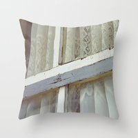 lace Throw Pillows featuring Lace by Meegan Dobson