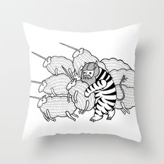 On why this variation of baby angora unicorns went extinct  Throw Pillow