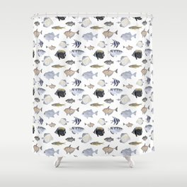 Fish Pattern - Blue & Gray Watercolor Theme Shower Curtain