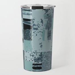 Modern Linear Ocean Sky Blue Squares Fusion Tailored Opulant Architectural Elegant Custom Travel Mug