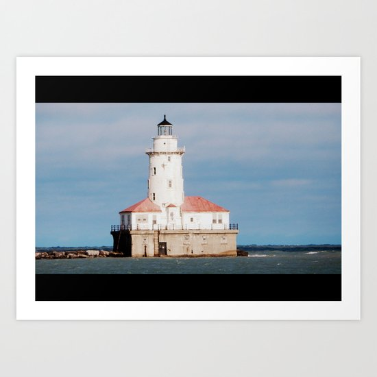 Lighthouse on Lake Michigan Art Print