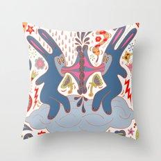 Rabbits Kissing Throw Pillow
