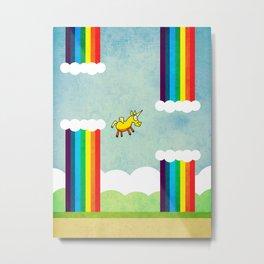 Flappy Unicorn Metal Print