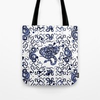 snake Tote Bags featuring SNAKE by DIVIDUS DESIGN STUDIO