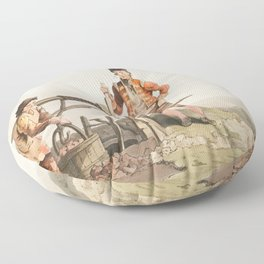 Illustration of East York militia from The Costume of Yorkshire (1814) by George Walker (1781-1856) Floor Pillow