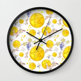 White Pentacles Wall Clock