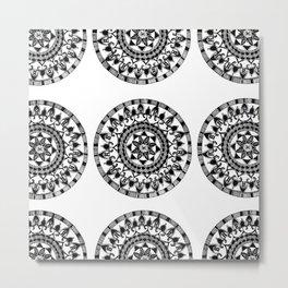 Black and White Circular Mandala Textile Metal Print
