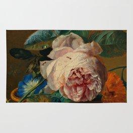 """Jan van Huysum """"Basket with flowers"""" Rug"""