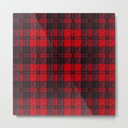 Dark Red Tartan Metal Print