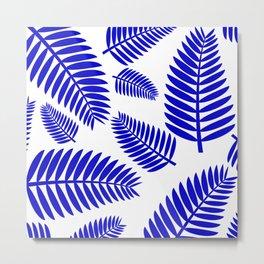 Blue Leaves Ferns Pattern Metal Print