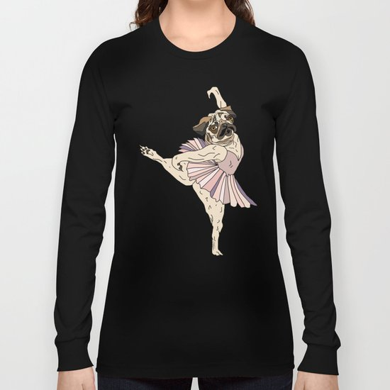 Dog Ballerina Tutu - Pug Long Sleeve T-shirt