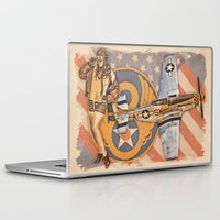 aviation Laptop & iPad Skins featuring Aviation Pinups - P-51 Mustang by Vintage Pinups
