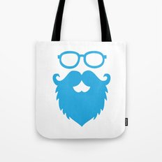 Hipster Beard Blue Tote Bag