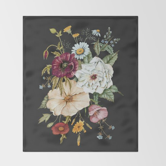 Colorful Wildflower Bouquet on Charcoal Black by shealeenlouise
