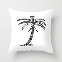 palm Throw Pillows featuring -PALM by It's Bananas Studio