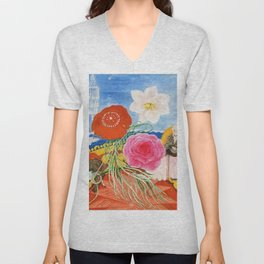 Red Poppies, Calla Lilies, Peonies & NYC Family Portrait by Florine Stettheimer Unisex V-Neck