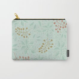 Leaves and fruits pattern in a green background Carry-All Pouch