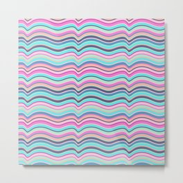 Modern neon pink teal abstract wave stripes Metal Print