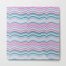 Modern neon pink teal abstract wave stripes Metal Print