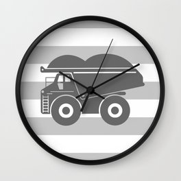 Gray Dump Truck Wall Clock