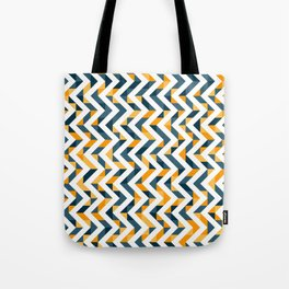 Chevron Oranges and Ink - Geometric Pattern Tote Bag