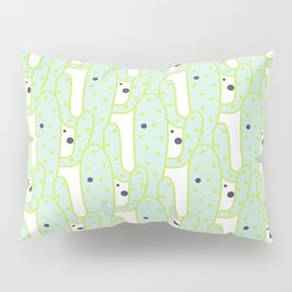 Cute green black hand drawn tropical cactus polka dots Pillow Sham