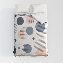 Abstract Modern Blue-gray, Pink, Yellow Dots Pattern Comforters